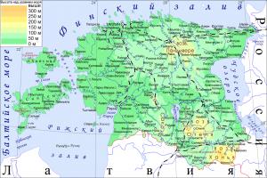 Физическая карта Эстонии