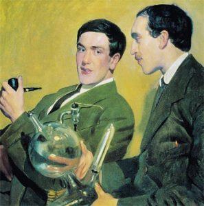Б. М. Кустодиев. Портрет профессоров П. Л. Капицы и Н. Н. Семёнова. 1921 год