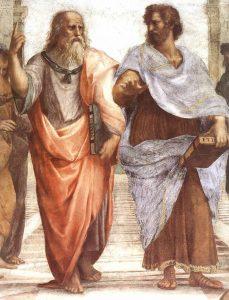 """Рафаэль Санти. Леонардо да Винчи в образе Платона и Аристотель на фреске """"Афинская школа"""""""
