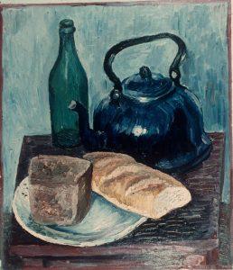 Натюрморт с бутылкой, чайником и хлебом. 1966