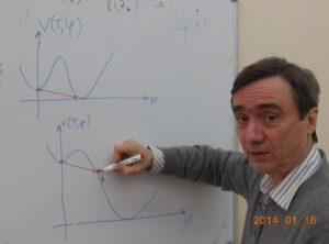 Игорь Ткачев иллюстрирует варианты туннельного перехода инфлатона — как это предполагалось в работе Гута (вверху), и как это должно происходить на самом деле (внизу). Снимок автора.
