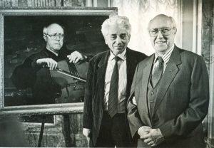 Марк Клионский и Мстислав Растропович при передаче в дар Русскому музею портрета музыканта. Июнь 1994 г.