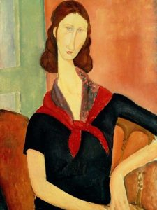 Модильяни. Жана Эбютерн (с шарфом), 1919
