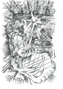 В землянке — рисунок В. Вагина к стихам Вадима Шефнера