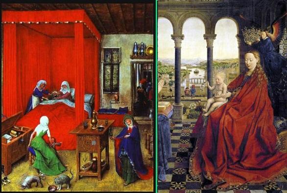 Рис. 1 Ян ван Эйк. Слева картина 1426 года, а справа после 1430 года
