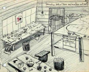 Вот эта лаборатория с пеньками вместо стульев