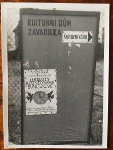 Объявление о выставке Людмилы Кузнецовой-Бурлюк в Праге