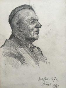 Людмила Кузнецова-Бурлюк. Портрет Давида Бурлюка. 1957. Коллекция автора