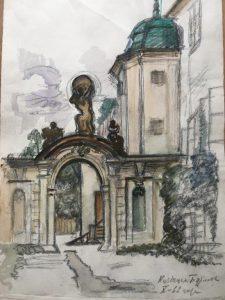 Людмила Кузнецова-Бурлюк. Вртбовска заграда, Прага. 1962. Коллекция автора