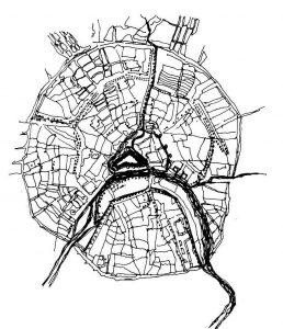 Радиально-кольцевая модель города, по которой строился Париж. Москва имеет аналогичный план. г. Москва в XVIII столетии, 1739 г.