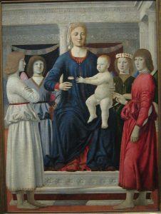 «Мадонна с младенцем на троне и четыре ангела» Франчески, 1460-1470 г.; Арт-институт Кларка, Уильямстаун, Массачусетс