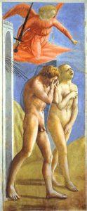 «Изгнание из рая» Мазаччо, 1426 г.; Капелла Бранкаччи, Санта Мария дель Кармине, Флоренция, Италия