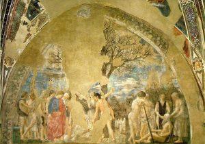 «Смерть Адама»: фреска из серии «История истинного креста» Франчески, 1466 г;. Базилика святого Франциска, Ареццо, Тоскана, Италия
