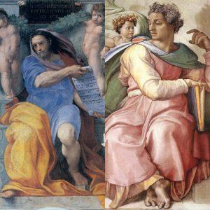 Слева: «Пророк Исайа» Рафаэля, 1512г.; фреска в церкви Святого Августина, Рим. Справа: «Пророк Исайа» Микеланджело, 1508–1512; фреска на потолке Сикстинской капеллы, Ватикан