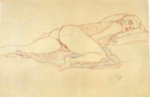 «Лежащая обнаженная» Климта, 1907г.; Neue Gelerie, Нью-Йорк