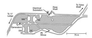 Рис.3. Схемы горных выработок гор. 4850, примыкающих к стволам Ятес и Росс