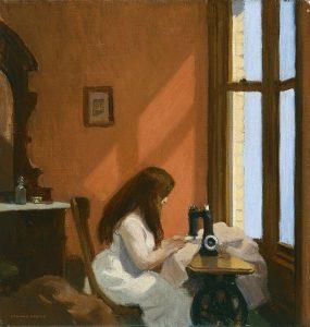 «Девушка за швейной машинкой» Хоппера, 1921 г.; Музей Тиссена-Борнемисы, Мадрид