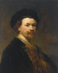 слева: Рембрандт, Автопортрет, Музей Нортона Саймона, Пасадина, Калифорния