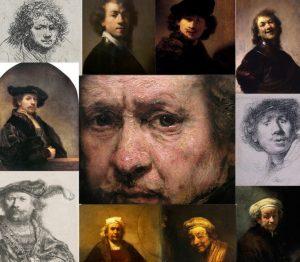 Рембрандт, детали автопортретов