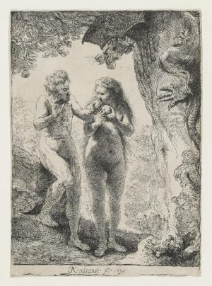Рембрандт, Адам и Ева (рядом деталь подписи), 1638, Музей изящных искусств, Хьюстон