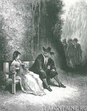 Г. Доре, гравюра к басне Лафонтена «Разборчивая невеста»