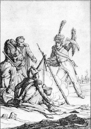«Ворона и курица», рис. А. Сапожникова, 1834
