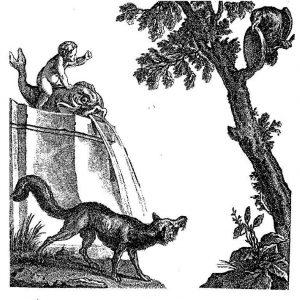 «Ворона и лисица», французская иллюстрация ХVIII века