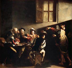 «Призвание апостола Матфея» Караваджо, 1600г.; базилика Сан-Луиджи-деи-Франчези, Рим