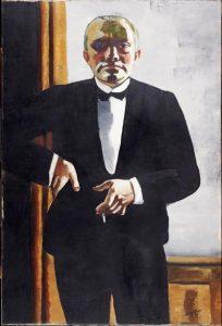 «Автопортрет в таксидо» Бекмана, 1927г.; Гарвардский музей, Кембридж, Массачусетс