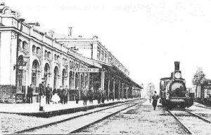Пограничная русская станция Вержболово (Вирбалис) напротив станции Эйдкунен. Сюда привезли тело Тургенева 23 сентября 1883 года.