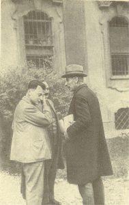 Во время конференции в Комо. Слева направо: В. Паули, Дж. Франк, Ф. Пашен