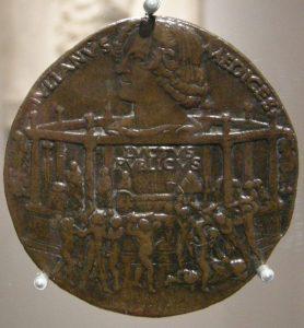Медаль. Заговор Пацци. (Внизу Лоренцо спасается от заговорщиков наверху – профиль Лоренцо Медичи)