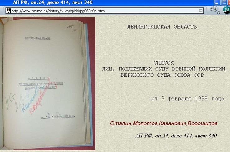 Один из сотен уцелевших расстрельных списков, подписанных Сталиным. Список с именем Матвея Петровича Бронштейна датирован 3 февраля 1938. Две недели спустя, состоялся — получасовой — «суд» и сразу же казнь.