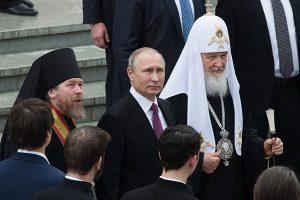 Три богатыря: епископ Тихон, Владимир Владимирович Путин, патриарх Кирилл (Гундяев).