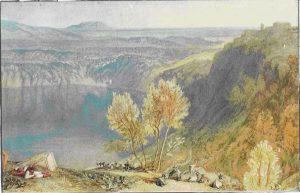 «Озеро Неми» в Италии; акварель Тёрнера