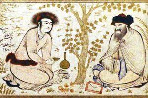 12. Миниатюра «Юноша и дервиш» из книги «Сад земных наслаждений», вторая четверть XVII века, Исфахан, Персия