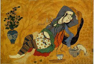 17. Афталь аль-Хусайни. Красавица в саду, 1640