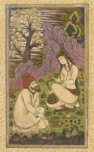 Бизард Ибрахими. Влюблённые, иллюстрация к дивану газелей Хафиза. 1581-86