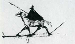 22. Пушкин, Автопортрет на коне, Кавказ, 1829