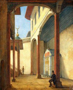 23. Н.Г. Чернецов. Пушкин в Бахчисарайском дворце, 1837