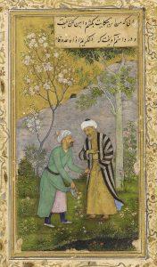24. Саади в розовом саду, миниатюра XVI века