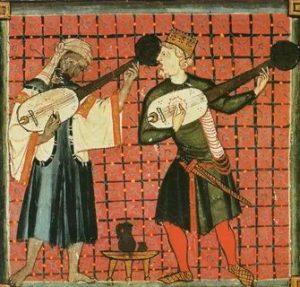 6. Миниатюра из «Песенника» (Book of Chants) ХIII века, изображающая cовместное музицирование двух менестрелей: мусульманина и христианина