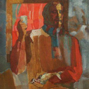 С.Сычев. Автопортрет с рыбой.1973