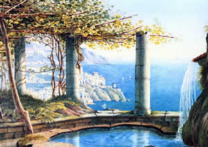 No.10: Ф. Мендельсон, Амальфи, Италия 1836 (Amalfi, Italia; watercolor by Mendelssohn bartoldy, 1836; from The Mendelssohn project)