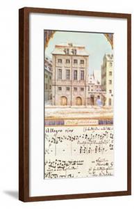No.4: Гевандхауз, Лейпциг с нотами музыки Ф.Мендельсона The Leipzig Gewandhaus with a Piece of Music by Felix Mendelssohn (from art.com).