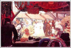 """Рис. 8. Картина Б.Кустодиева """"Ярмарка"""" (1908)"""