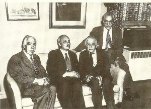 Слева направо: Нильс Бор, Джеймс Франк, Альберт Эйнштейн, Исидор Раби, 1954 г.