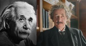 """Альберт Эйнштейн и Джеффри Раш в роли Эйнштейна в сериале """"Гений"""""""