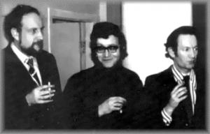 Ю. Димитрин, А. Журбин и А. Васильев после премьеры рок-оперы.