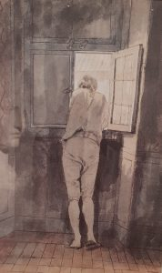 Рис. 9. (а) Иоганн Генрих Вильгельм Тишбейн. Акварель «Гёте у окна»